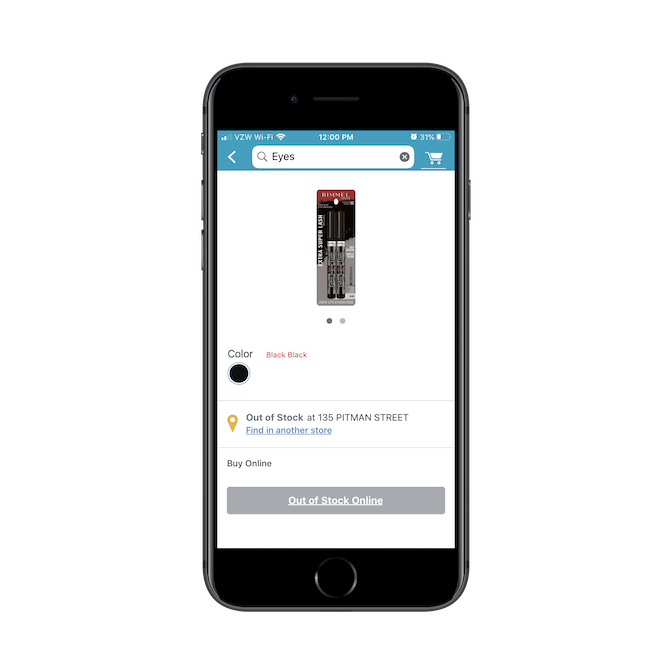 """The Walgreens app automatically tells users if the product they're looking at is """"Out of Stock"""" or available at their Preferred Store."""