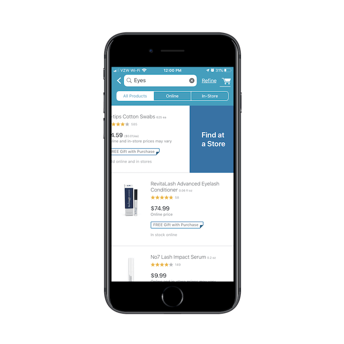 Walgreens has a 'Find at a Store' swipe option for customers interested in picking up a specific item at a local store location.