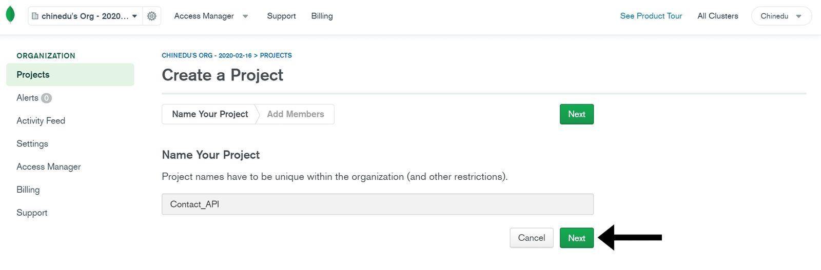MongoDB Name Project