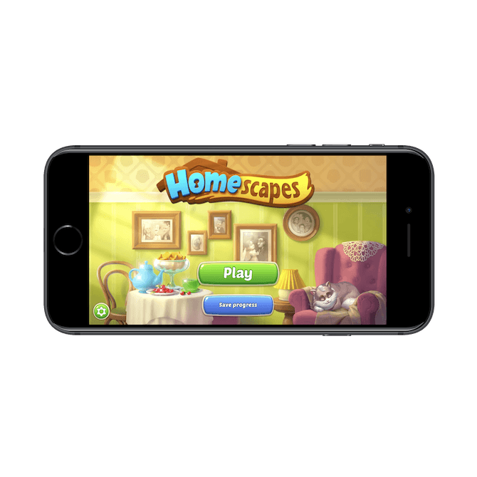 """Homescapes gives new users the option: """"Play"""" the game or """"Save progress""""."""