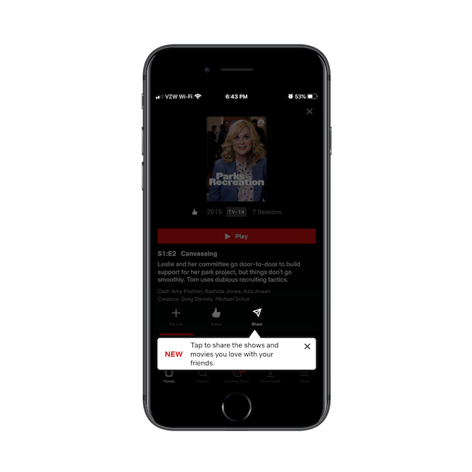 Netflix mobile app new feature allows users to share the shows and movies they love with friends, family, and connections.