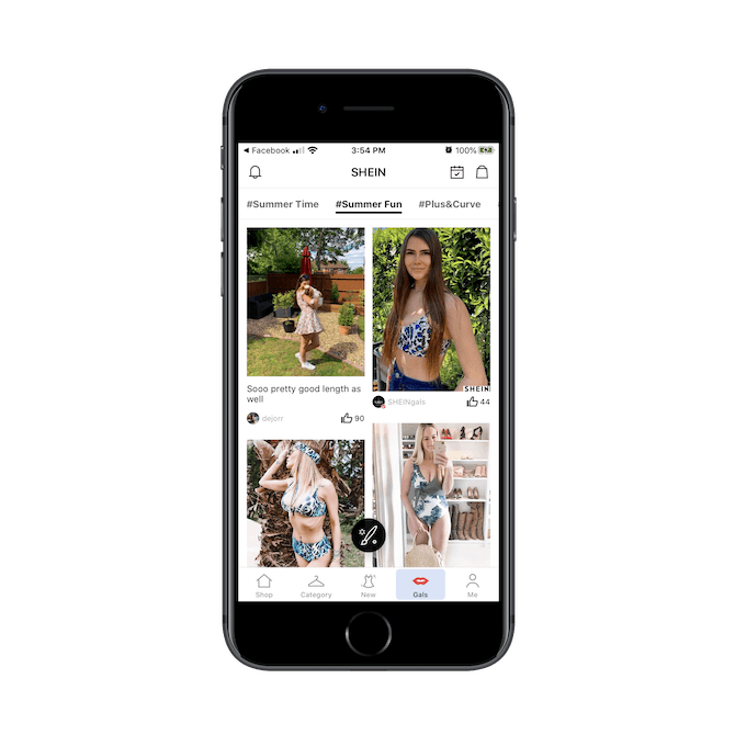 SHEIN displays user-uploaded photos and then categorizes them with hashtags like #SummerTime, #SummerFun, and #Plus&Curve.