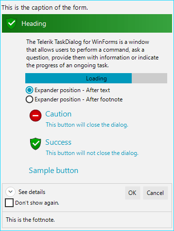 Telerik UI for WinForms New RadTaskDialog