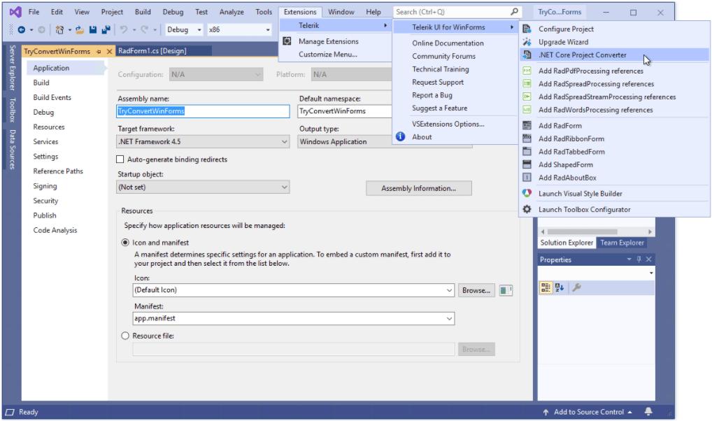 Telerik Visual Studio 2019 Extension