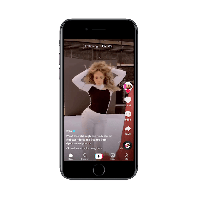 A dance video uploaded by Jennifer Lopez (@jlo) to Tik Tok has been shared to other platforms by 19,000 users.