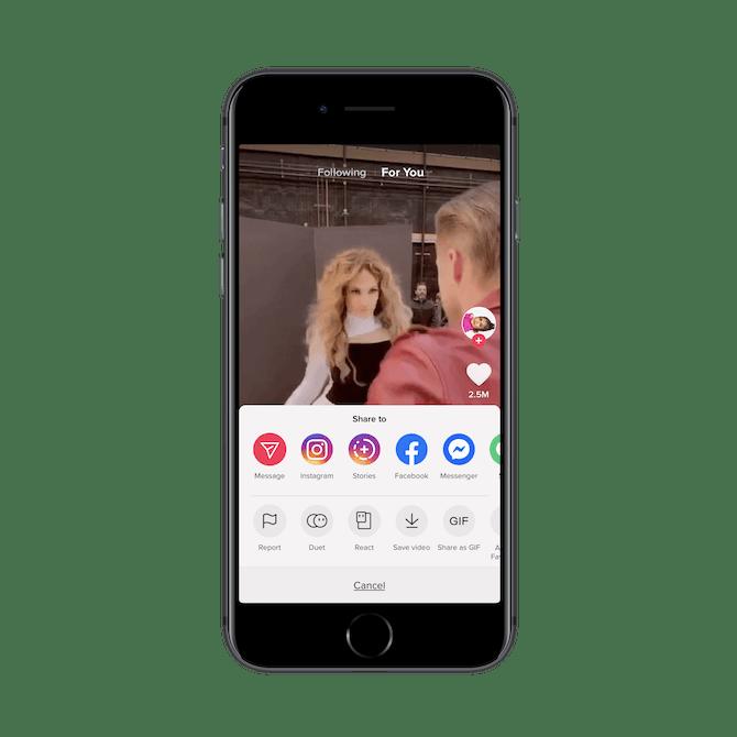 TikTok users can share Jennifer Lopez's TikTok video to Message, Instagram, Instagram Stories, Facebook, Messenger, and more.