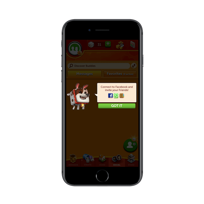 Yahtzee with Buddies Dice encourages users to connect to Facebook and invite their friends to play with them.