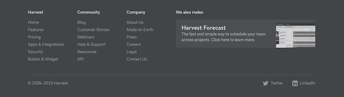 Harvest's footer includes information about the Harvest product, the Community resources, as well as the Company.