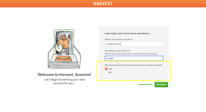 Harvest's onboarding process asks users if they want to be emailed with useful product updates and tips during their free trial.