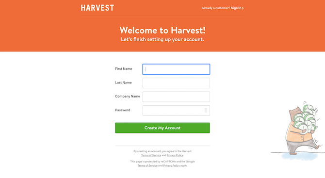 The Harvest free trial signup form asks for email address, first name, last name, company name, and a password.