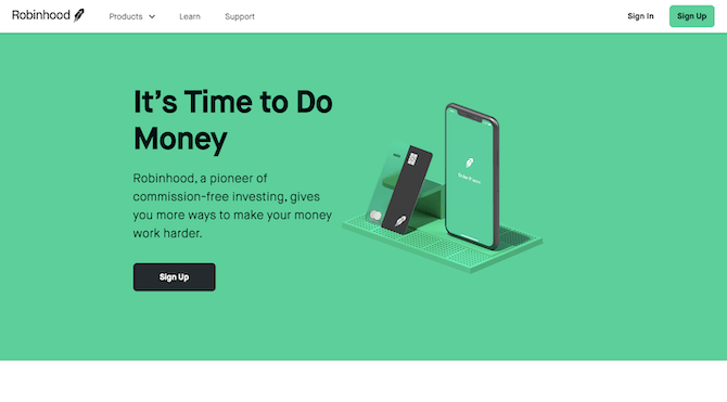 This is the desktop website that promotes investment app Robinhood.