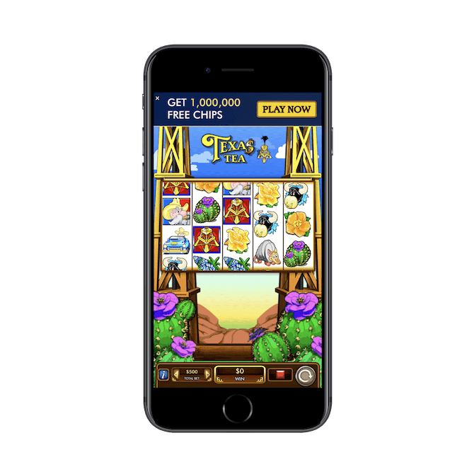 "An interstitial ad for Texas Tea Slots plays after the user hits ""Play"" on a new podcast episode."
