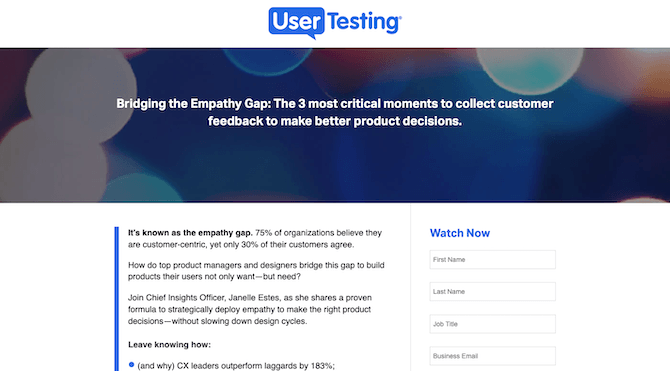 UserTesting drives highly qualified prospects from a LinkedIn ad to a distraction-free landing page for its free webinar.