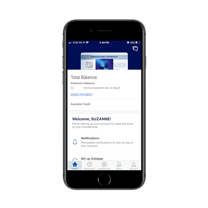The American Express mobile app welcomes its users personally and then guides them through their account setup to make the most of their membership.