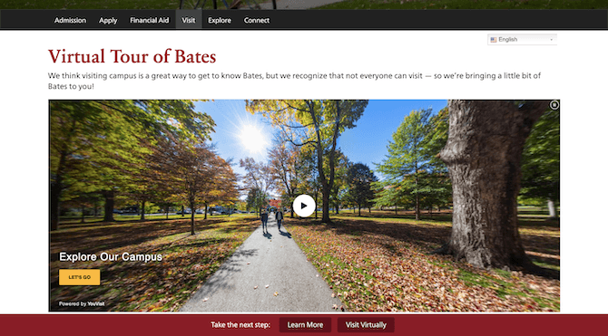 Bates College offers interested prospects the option to take a guided 3D virtual reality tour of the campus.