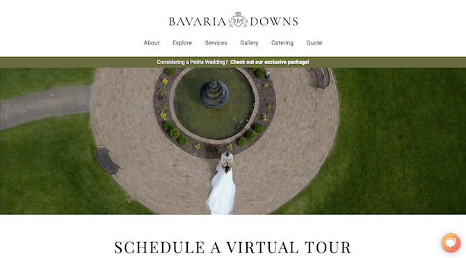 Interested couples-to-be can schedule a virtual tour of the grounds of Bavaria Downs through the website.