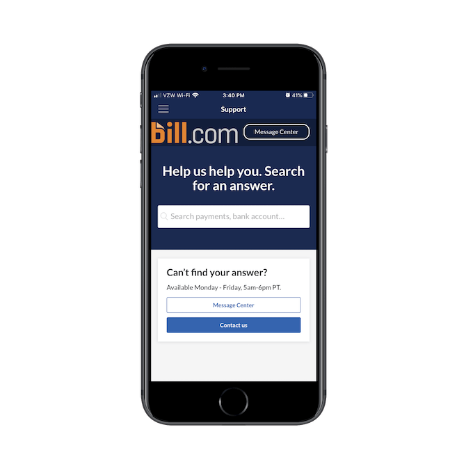 The Bill.com mobile app Support page has a simple search bar and two options for getting help: Message Center and Contact Us.