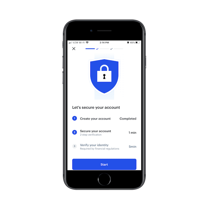 """The Coinbase mobile app shows users that the next step """"Secure your account"""" will take 1 minute to complete."""