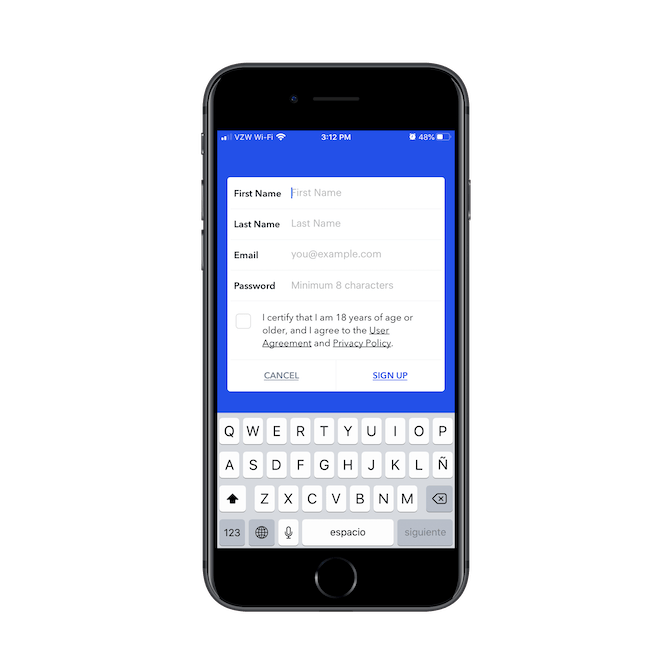 The Coinbase mobile app asks new users for their First Name, Last Name, Email, Password, and confirmation of age before signing up.