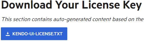 KendoReact Download License Key Button