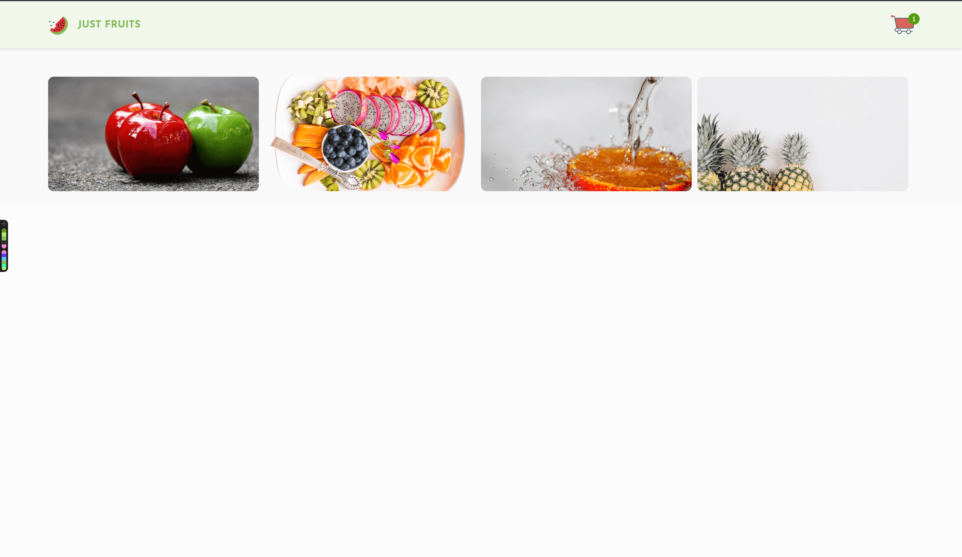 header with Just fruits logo and a cart, and below are photos of fruit