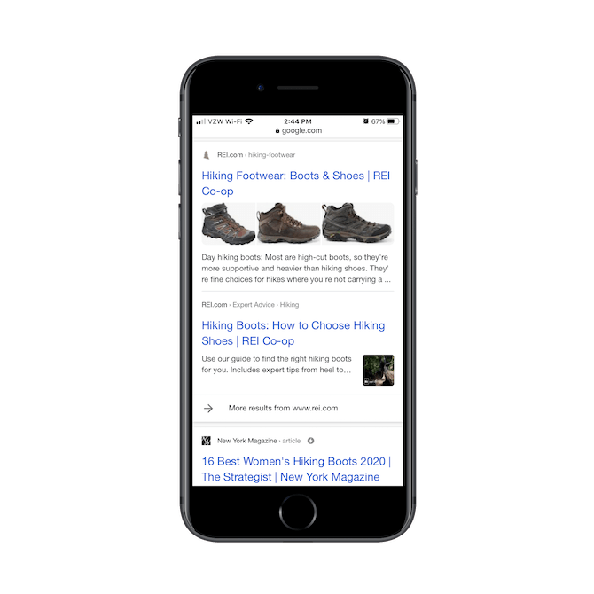 A Google search for 'hiking boots' shows organic results for REI and a listicle from New York Magazine.