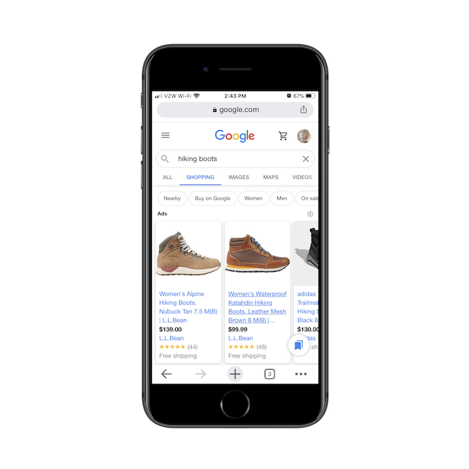 A Google Shopping search for 'hiking boots' shows options from L.L.Bean, DSW, and Target.
