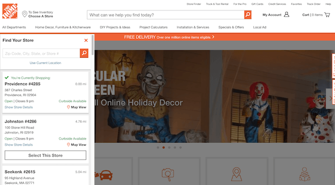 When Home Depot website visitors select 'To See Inventory Choose a Store', this sidebar slides in from the left side of the screen, enabling them to choose a local store.