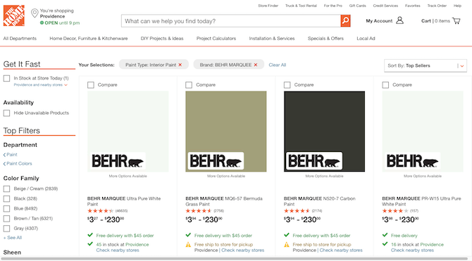 Home Depot includes a 'Get It Fast' filter on search pages so shoppers can find products that are in stock at the local store.