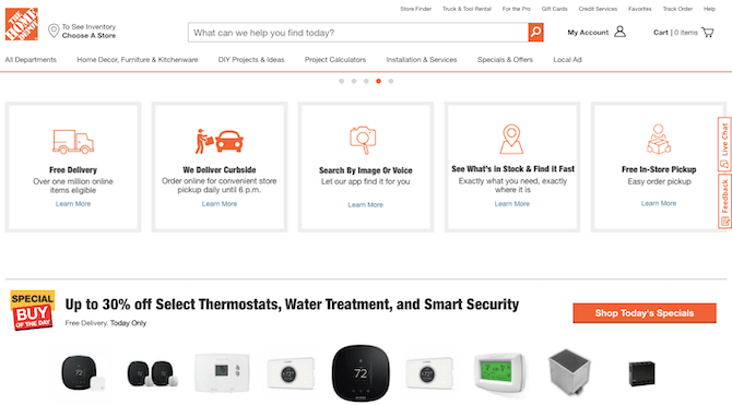 The Home Depot homepage details its omnichannel shopping options: delivery, curbside pickup, image or voice search, local inventory search, in-store pickup.