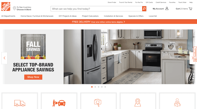 The Home Depot website includes a 'To See Inventory Choose a Store' CTA right next to its logo.