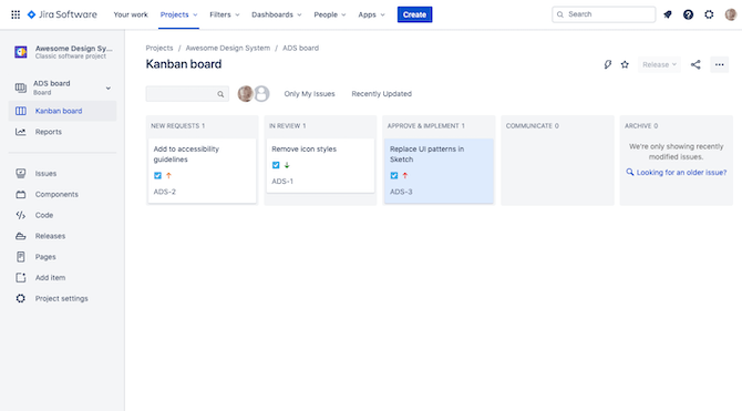 A sample Jira Kanban board for an agency's design system change request process, with steps for New Requests, In Review, Approve & Implement, Communicate, and Archive.