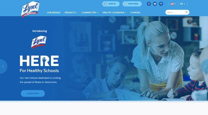"A snapshot of the Lysol website in January 2020. The homepage depicts a banner that reads ""Here for Healthy Schools"" and a photo of a teacher with her students."
