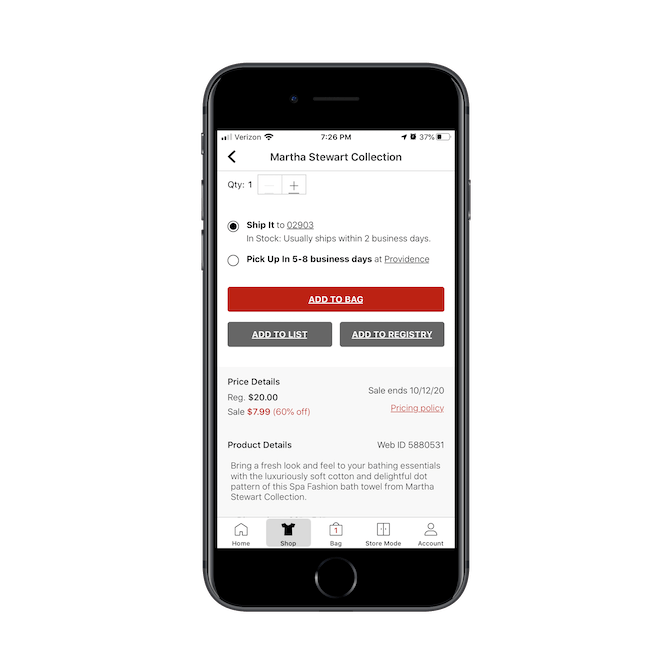 Macy's mobile app gives shoppers the option to add products to a list, so they can save their online shopping for later or use the list to find items they want in store.