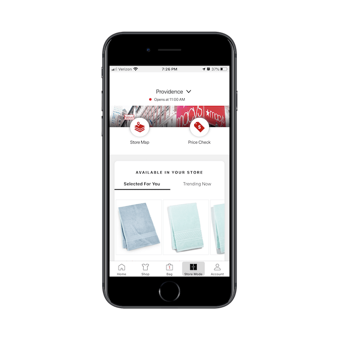 The Macy's mobile app provides in-store shoppers with a store map and price check tool.