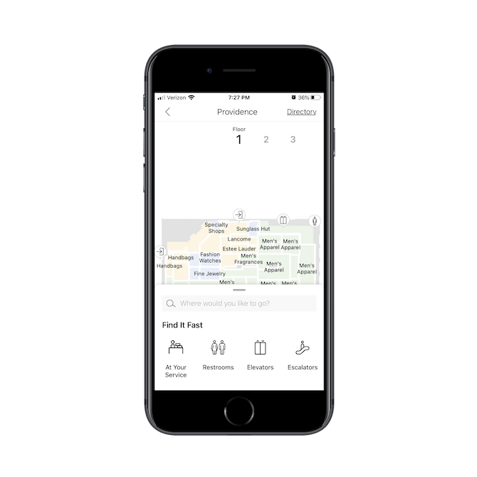 The Macy's mobile app comes with a digital floor plan for all its store locations, including details like where the customer service, restrooms, elevators, and escalators are.