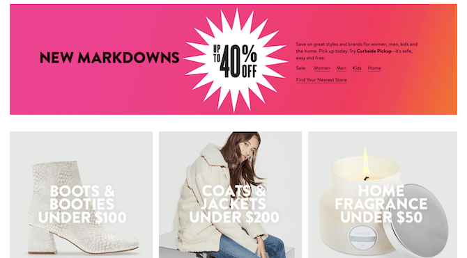 Nordstrom's 'New Markdowns' banner advertises sales up to 40% off in October.