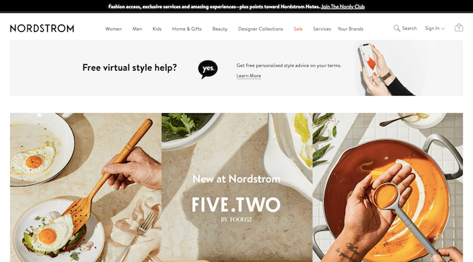 Nordstrom's navigation includes a red 'Sale' button that stands out from the rest of the pages.