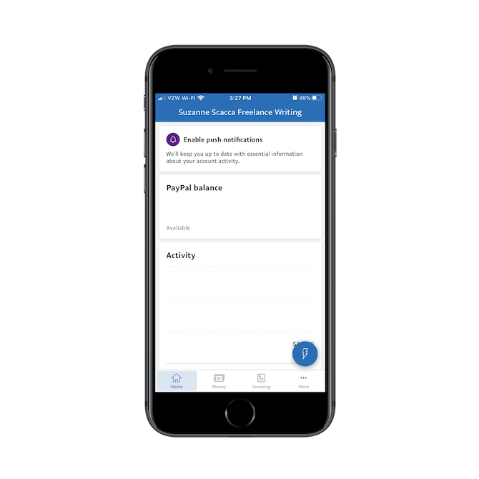 PayPal business app has a simplified navigation bar with buttons for Home, Money, Invoicing, and More. A sticky lightning button opens up a set of quick actions, too.