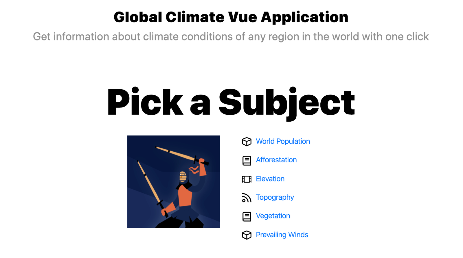 Global Climate Vue Application encourages you to pick a subject: World population, afforestation, elevation, topography, vegetation, or prevailing winds.