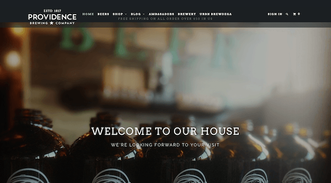 The Providence Brewing Company website in January 2020 educated visitors on their beers, brewery, and sold merchandise.