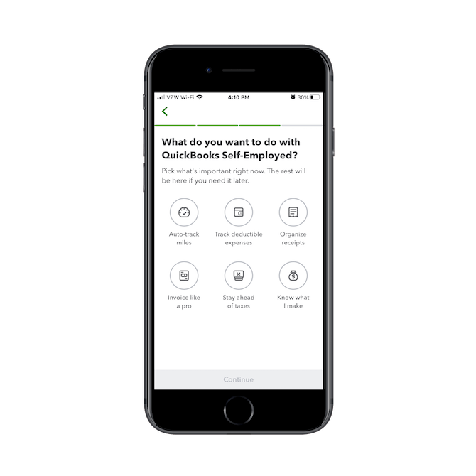 The QuickBooks onboarding process asks users what they want to do with the app: auto-track miles, track deductible expenses, organize receipts, invoice like a pro, stay ahead of taxes, know what I make.