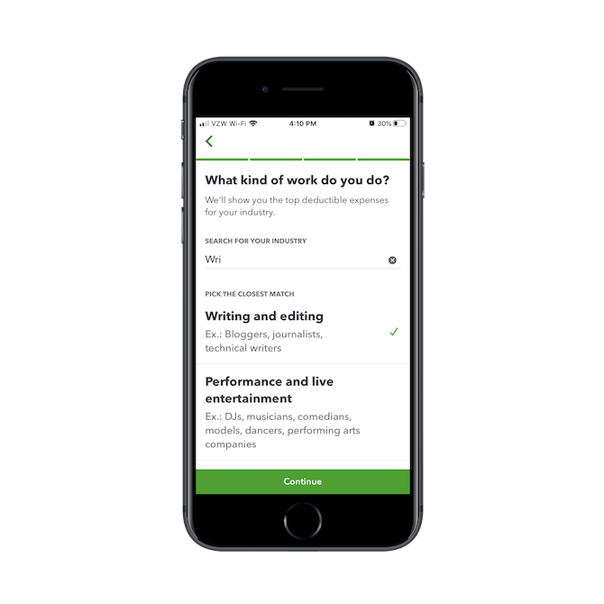 """The QuickBooks app asks new users to describe what kind of work they do. The """"Search for Your Industry"""" is a predictive search function and helps match them to their business type."""