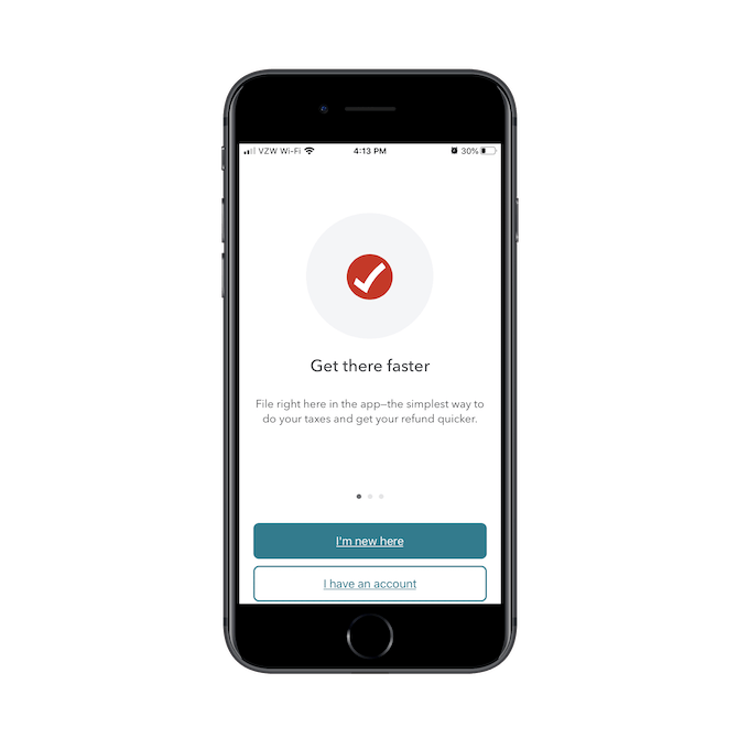 """The TurboTax mobile app welcomes visitors with a promise to """"Get there faster"""" and options for """"I'm new here"""" and """"I have an account""""."""