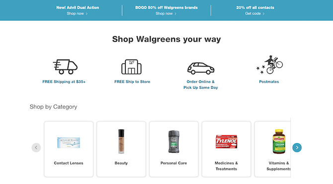 "Walgreens has added a new ""Shop Walgreens your way"" section to its website during COVID-19. It lets customers know how they can shop with them: FREE shipping at $35+, FREE ship to store, Order online & pick up same day, Postmates."