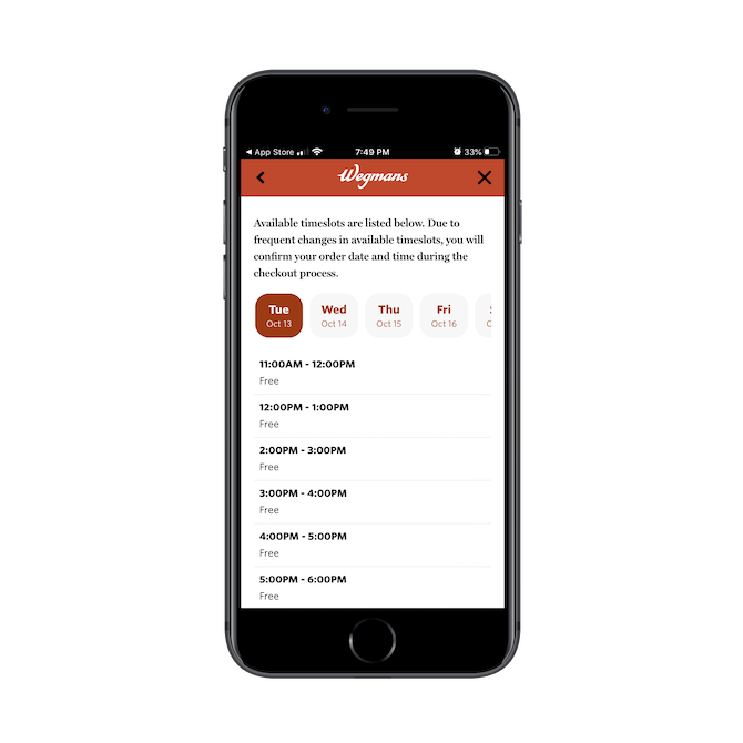 The Wegmans mobile app enables customers to schedule their grocery pickup for a certain day and timeframe.
