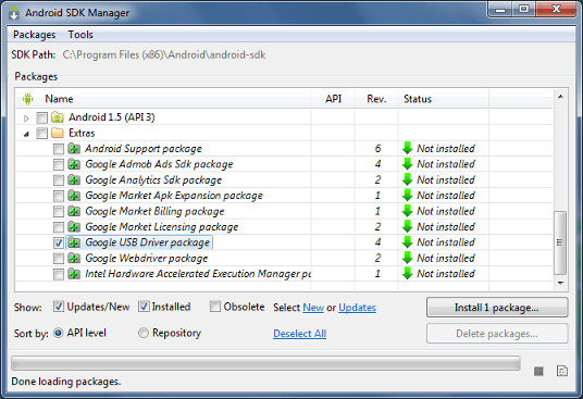 Google USB Driver Package is highlighted in teh Android SDK Manager.