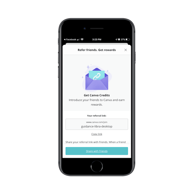 "The Canva app referral program page encourages users to ""Refer friends. Get rewards"". A custom share link is provided down below."