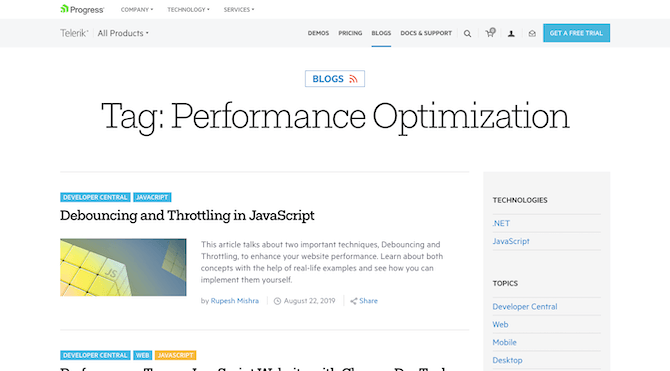 The Telerik blog has a comprehensive catalog of blog posts on performance optimization to help developers speed up their websites and apps.