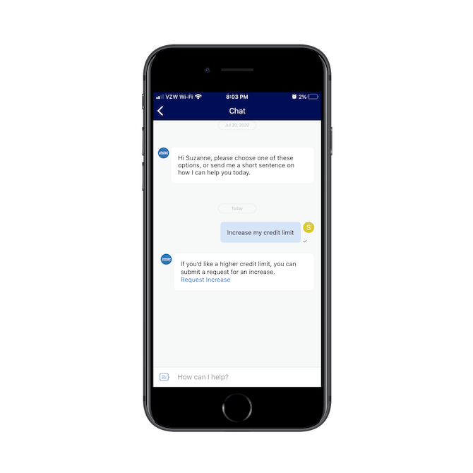 The AmEx chatbot confirms the request of the user before directing them to the page where they can request a credit limit increase.